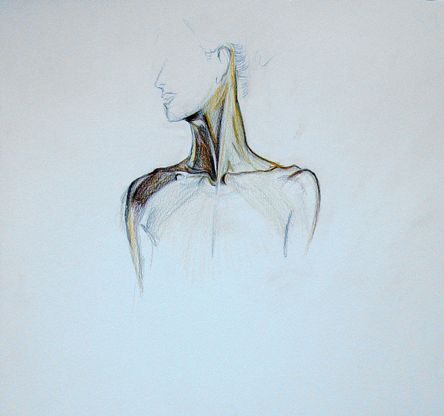 Neckline Drawing : Anthony j jolley mixed media